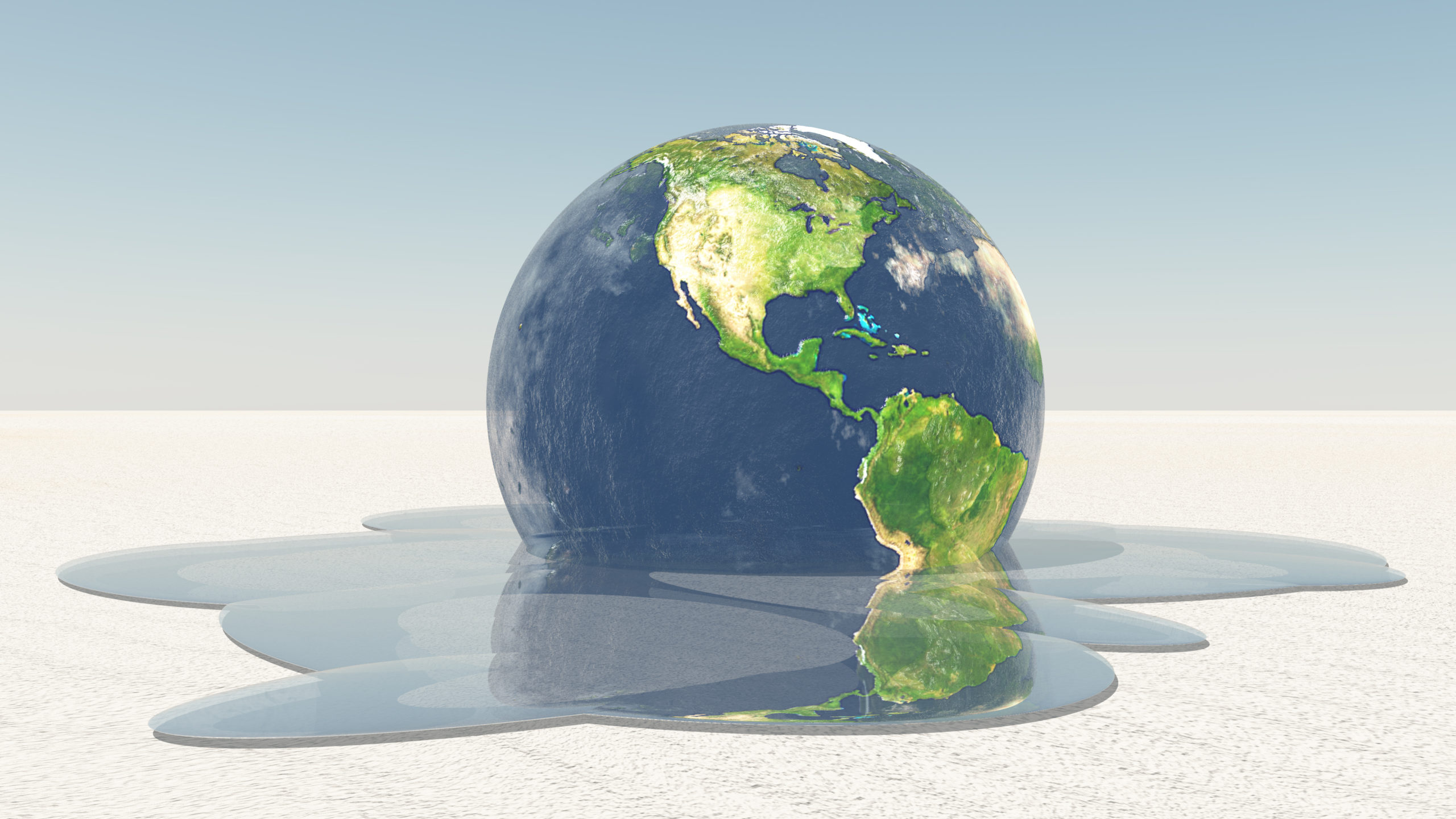 Earth,Melting,Into,Water,On,White,Surface